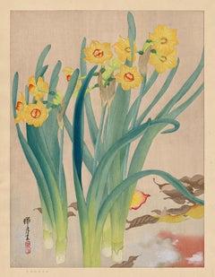 Yellow Daffodils (Kinazuisen) —Japanese Woodblock Print