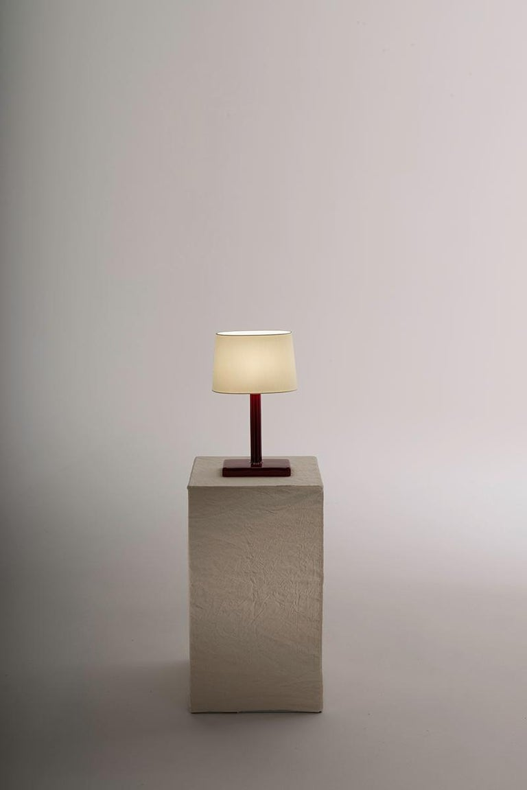 Italian Ikonica Table Lamp in Colored Ceramic and Fabric Shade Designed by Aldo Cibic For Sale