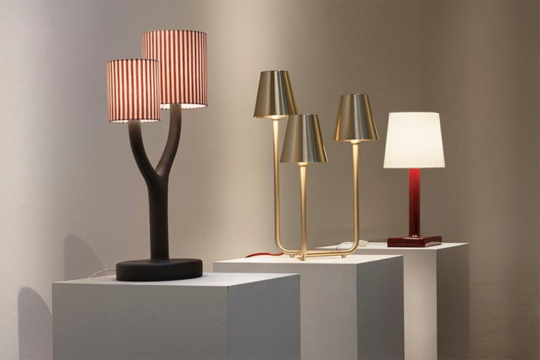 Glazed Ikonica Table Lamp in Colored Ceramic and Fabric Shade Designed by Aldo Cibic For Sale