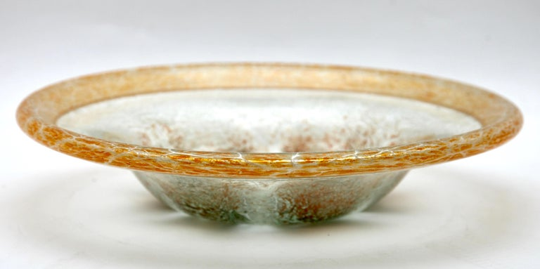 20th Century 'Ikora' Art Glass Bowl, Produced, by WMF in Germany, 1930s by Karl Wiedmann For Sale