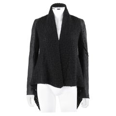 IKRAM RICK OWENS Black Open Waterfall Cardigan Leather Insets Mohair Sweater