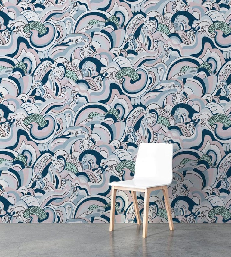 Created from a hand drawn mural inspired by the fluid waters of Japan and the sea monsters believed to dwell there.