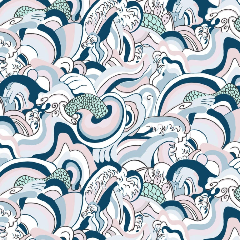 Modern Ikuchi-Japanese Sea Printed Wallpaper, Comic Book Color-Way For Sale