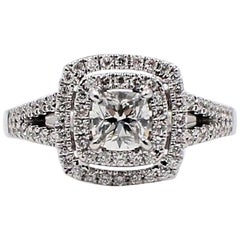 Ikuma Cushion Diamond Engagement Ring Halo 0.968TCW 14k White Gold AGS Certified