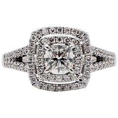 Ikuma Cushion Diamond Engagement Ring Halo 0.968TCW 14k White Gold AGS Certified