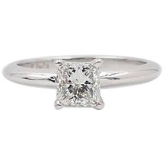 Ikuma Radiant Diamond Ring 0.732 Carat I VS1 18 Karat White Gold and Platinum