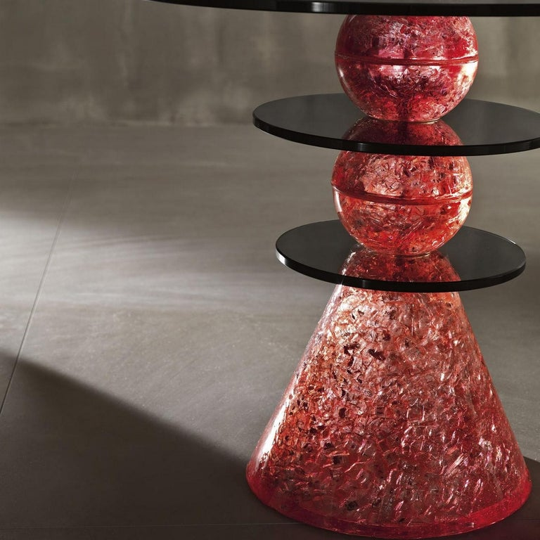 Italian In Stock in Los Angeles, Red Glass Side Table by Paolo Lomazzi, Made in Italy For Sale