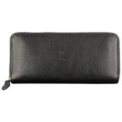 IL BISONTE Black Leather Baratti Zip Around Wallet