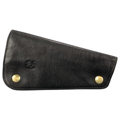 IL BISONTE Leather Black Leather Horizon Snap Pipe Case Wallet