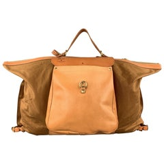 IL BISONTE MAREMMANA Solid Tan Canvas Leather Trim Backpack