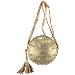 IL BISONTE Metallic Gold Leather Logo Circle Tassel Crossbody Bag