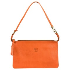 IL BISONTE Orange Leather Flat Pouchette Zip Pouch Bag