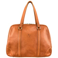 IL BISONTE Orange Leather Top Handles Bowler Handbag