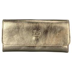 IL BISONTE Platino Gold Metallic Leather Classic Medium Case Pouch Bag