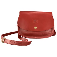IL BISONTE Red Leather cLASSIC Saddle Cross Body Handbag