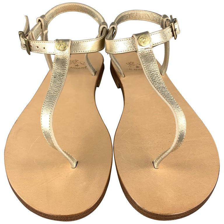 IL BISONTE Size 7 Champagne Gold Leather VERSILLA T-strap Thong Sandals For Sale