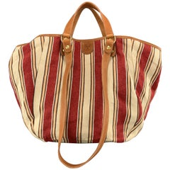 IL BISONTE Stripe Red & White Canvas & Tan Leather VERSILLIA Tote Bag