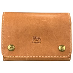 IL BISONTE Tan Leather Double Snap Wallet