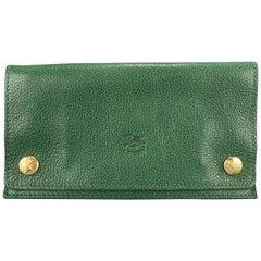IL BISONTE Verde Green Leather Horizon Tobacco Case Wallet
