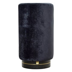 Il Fratellino, Tall Pouf in Black Velvet on Black Painted Oak Base, Brass Décor