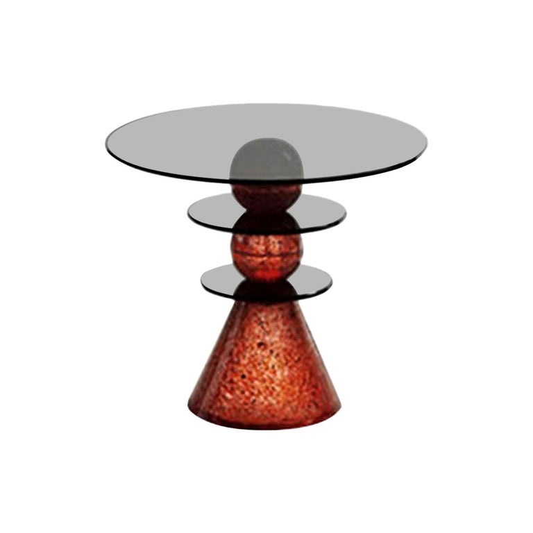 In Stock in Los Angeles, Red Glass Side Table by Paolo Lomazzi, Made in Italy For Sale