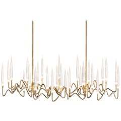 "Il Pezzo 3 ""Long Chandelier"" Crystal with a Handmade Forged Gold Brass Structure"