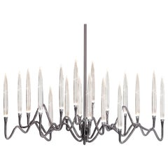 """Il Pezzo 3 Long Chandelier"" Small Size in Black Nickel Finish Made in Italy"