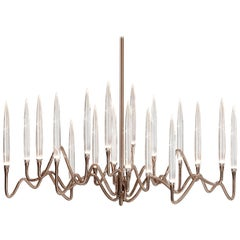 """Il Pezzo 3 Long Chandelier"" Small Size in Bronze Shadow Finish and Crystal"