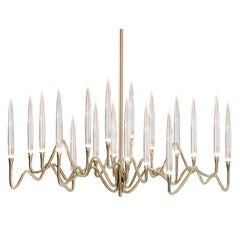 """Il Pezzo 3 Long Chandelier"" Small Size in Gold Structure and Crystal"