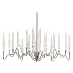 """Il Pezzo 3 Long Chandelier"" Small Size in Nickel Finish Made in Italy"