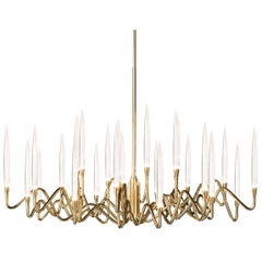 """Il Pezzo 3 Round Chandelier"" in gold-plated brass structure"