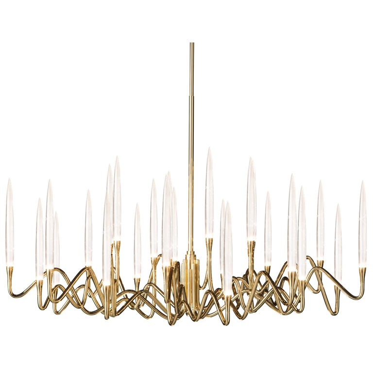 """""""Il Pezzo 3 Round Chandelier"""" in gold-plated brass structure For Sale"""