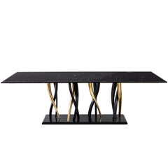 """Il Pezzo 8 Marble Table"" Black and Gold"