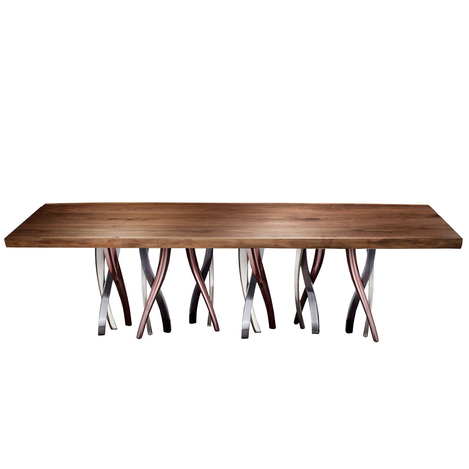 """""""Il Pezzo 8 Table"""" dining room table with a majestic live edge solid walnut top"""