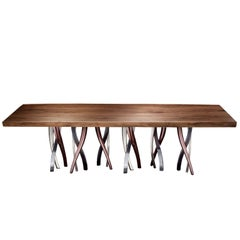 """Il Pezzo 8 Table"" dining room table with a majestic live edge solid walnut top"