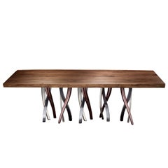 """Il Pezzo 8 Table"" solid walnut top with a sparkling forest of legs"