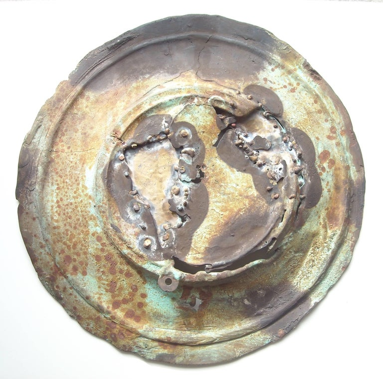 Post-Modern Ilana Goor Bronze, Large Plate or Charger Verdigris Patina, Signed For Sale