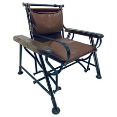 Ilana Goor Brown Leather and Iron Glide Lounge Chair, 1970s