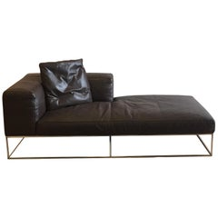 Ile Club Chaise in Dark Brown Leather by Piero Lissoni