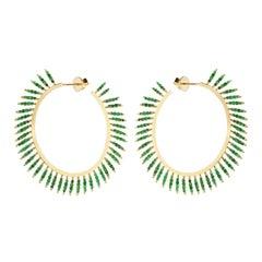 18 Karat Gold and Emerald Grass Fringe Hoops Y-LCHD