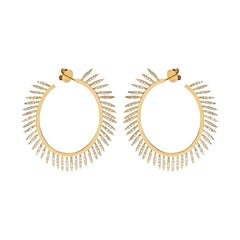 Ileana Makri 18kt Gold and Diamond Grass Fringe Hoops