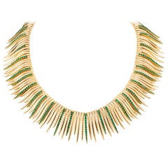 18 Karat Gold and Emerald Grass Leaves Necklace