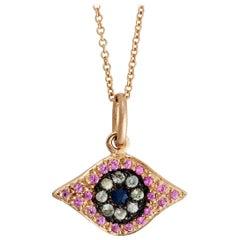 18 Karat Rose Gold Kitten Eye Pendant
