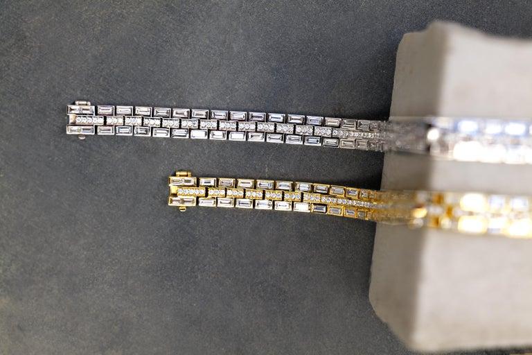 Baguette Cut 18 Karat White Gold Baguette Dream Bracelet For Sale