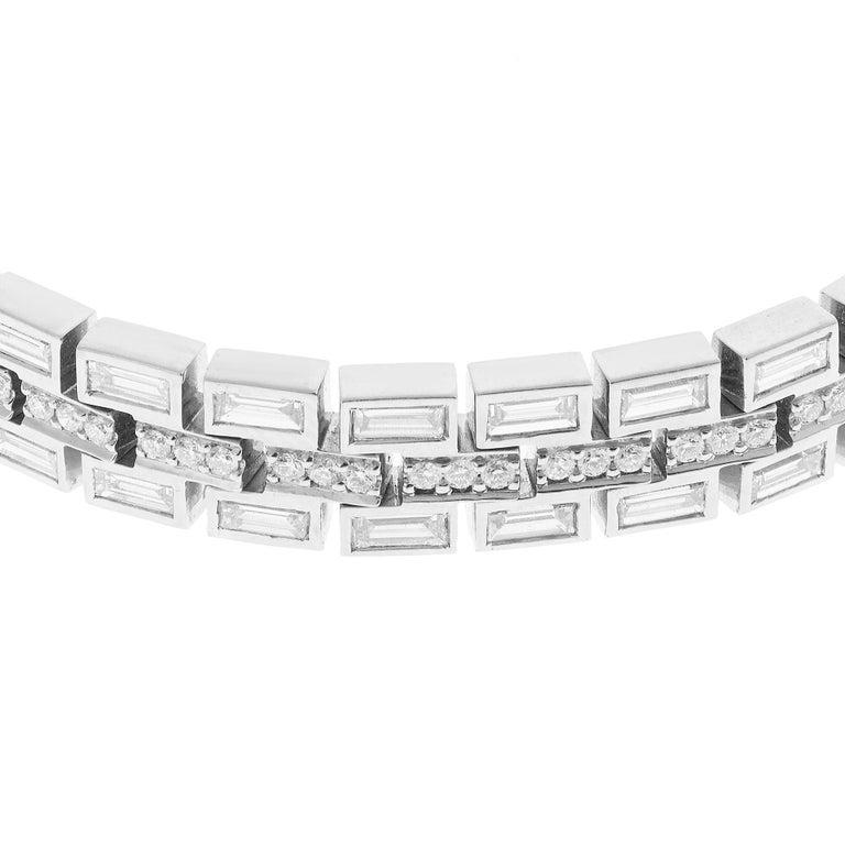 18 Karat White Gold Baguette Dream Bracelet In New Condition For Sale In Athens, GR