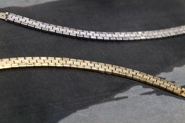 Women's or Men's 18 Karat White Gold Baguette Dream Bracelet For Sale