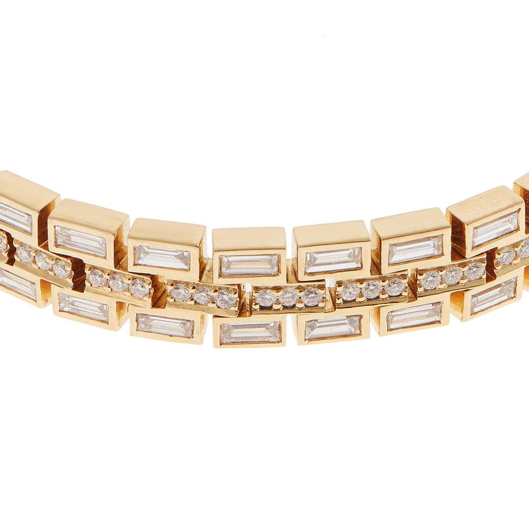 18 Karat Yellow Gold Baguette Dream Bracelet For Sale 1