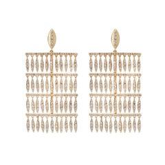18 Karat Gold and Diamond Grass Curtain Earrings