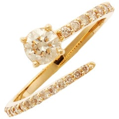 18 Karat Gold and Diamond Grass Seed Ring