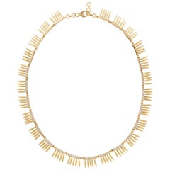 18 Karat Gold and Diamond Grass Sunny Leaves Necklace